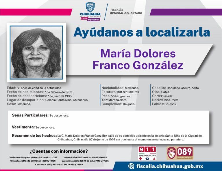 Fiscalía de la Mujer y la Familia busca a mujer desaparecida hace 26 años