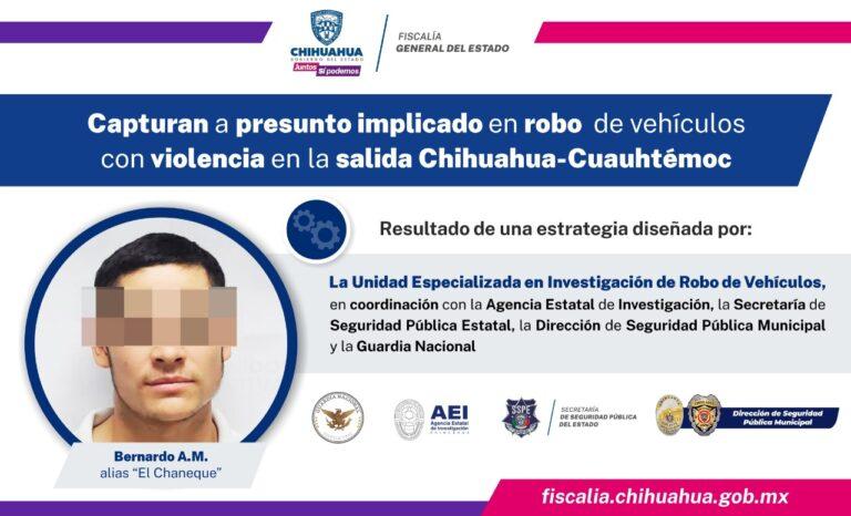 Capturan a presunto implicado en robo de vehículos con violencia en la salida Chihuahua – Cuauhtémoc